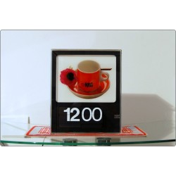 Wall / Table Backlight Clock - SOLARI Udine, Mod. CIFRA 6 SYNCHRON, Italy 1966
