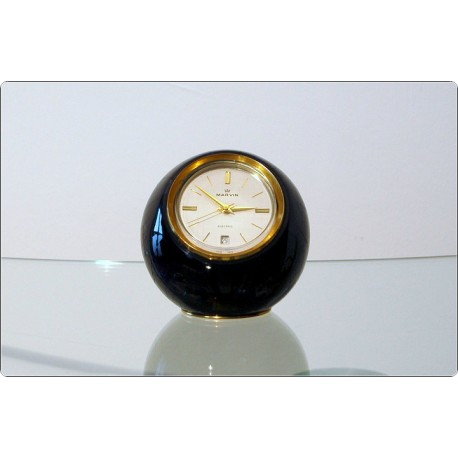 Table Clock MARVIN, Swiss Made 1950 - Flecked GALALITH