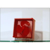 Table Fan ARIANTE Vortice, Made in Italy 1973, Design M. Zanuso - RED Color