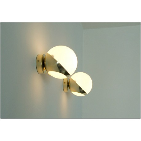 Pair of Wall Sconces GLASS SPHERE Art. A-026 - Brass structure