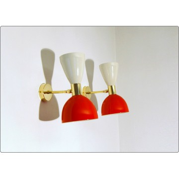 Wall Lamp Art. A-034 - Metal - Brass - WHITE / RED Color