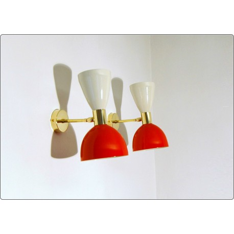 Pair of Wall Sconces Art. A-034 - Metal Lampshade - Brass structure - WHITE / RED Color
