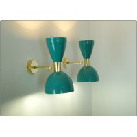 Pair of Wall Sconces Art. A-040 - Metal Lampshade - Brass structure - LIGHT GREEN Color