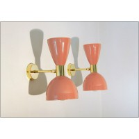 Pair of Wall Sconces Art. A-046 - Metal Lampshade - Brass structure - PINK Antique Color