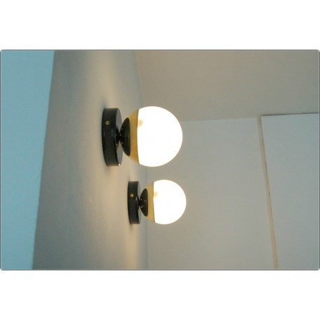 Pair of Wall Sconces GLASS SPHERE Art. A-048 - Brass structure - BLACK