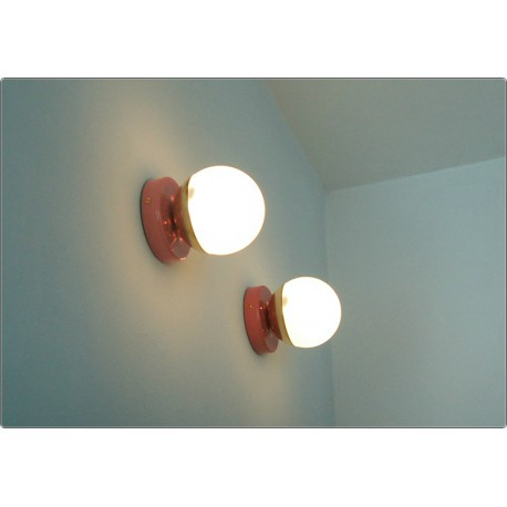 Pair of Wall Sconces GLASS SPHERE Art. A-050 - Brass structure - PINK