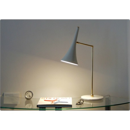 Table Lamp Art. TL-064 - Brass / Marble - WHITE Color