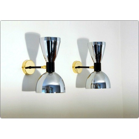 Pair of Wall Sconces Art. A-086 - Brass structure - CHROME