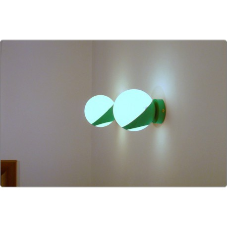 Pair of Wall Light GLASS SPHERE Art. A-029 - GREEN Color