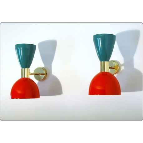 Pair of Wall Sconces Art. A-036 - Metal Lampshade - Brass structure - RED / GREEN Color
