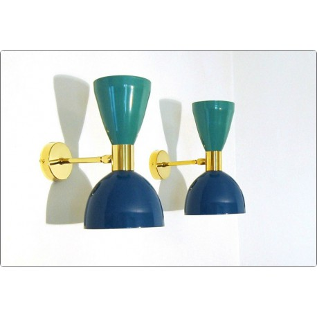 Pair of Wall Sconces Art. A-022 - Metal Lampshade - Brass structure - Green / Blue Color