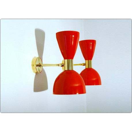 Pair of Wall Sconces Art. A-016 - Metal Lampshade - Brass structure - Made in Italy - RED Color