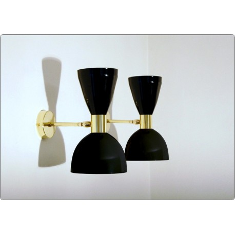 Pair of Wall Sconces Art. A-080 - Metal Lampshade - Brass structure - BLACK Color
