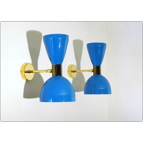 Wall Lamp Art. A-095 - Metal / Brass - Light BLUE
