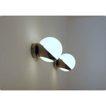 Wall Lamp GLASS SPHERE Art. A-023 - NICKEL BRASS Dark