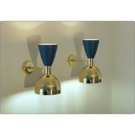Wall Lamp Art. A-033 - Metal / Brass - BLUE Opaque