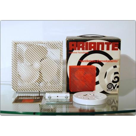 Table Fan ARIANTE Vortice, Made in Italy 1973, Design M. Zanuso - WHITE in Original Box